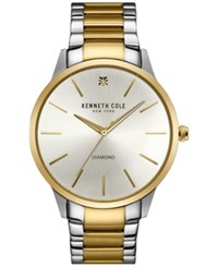 Kenneth Cole New York Men's Diamond Accent Two Tone Stainless Steel Bracelet Watch 43X50mm 10031457 Two Tone