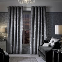 Kylie Minogue At Home Grazia Lined Eyelet Curtains Silver