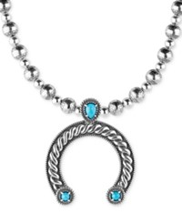 American West Turquoise Horseshoe Pendant Necklace 1 1 8 Ct. T.W. In Sterling Silver