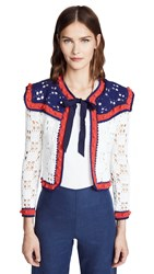 Michaela Buerger Crochet Tie Front Cardigan White Navy Red