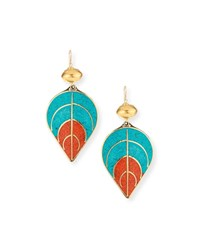 Devon Leigh Turquoise And Coral Leaf Earrings