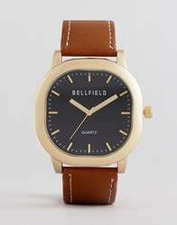Bellfield Watch With Brown Strap And Gold Case