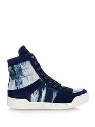 Balmain Tie Dye Canvas And Suede High Top Trainers