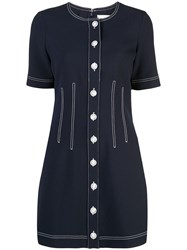 Veronica Beard Short Buttoned Dress Blue