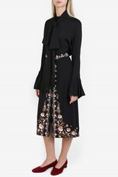 Ellery Little Me Frill Silk Shirt Black