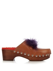Fendi Square Eyes Fur Trimmed Leather Clogs Tan Multi