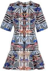 Temperley London Arielle Printed Satin Twill Mini Dress Blue