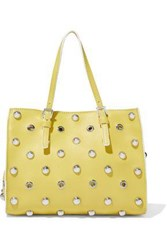 Red V Eyelet Embellished Studded Leather Tote Yellow
