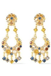 Ben Amun Woman 24 Karat Gold Plated Crystal Earrings Gold