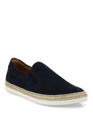 Saks Fifth Avenue Espadrille Suede Slip On Sneakers Taupe Navy