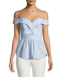 Bardot Sara Off The Shoulder Fitted Peplum Top Blue