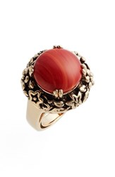 Metal And Stone Women's Floral Set Ring