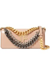 Tom Ford Palmellato Small Chain Embellished Leather Shoulder Bag Beige