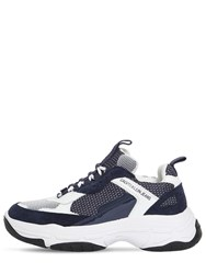 Calvin Klein Jeans 50Mm Maya Mesh And Leather Sneakers White