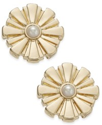 Charter Club Gold Tone Imitation Pearl Button Earrings Only At Macy's