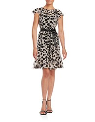 Teri Jon Dotted Ruffle Dress Black Natural