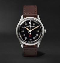 Bell And Ross Br V1 92 Military Automatic 38.5Mm Stainless Steel Leather Watch Ref. No. Brv192 Mil St Sca Black