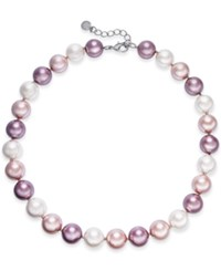 Charter Club Silver Tone Imitation Pearl Collar Necklace 17 2 Extender Rhod Multi