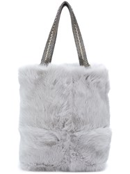 Laura B Chain Strap Shoulder Bag Women Rabbit Fur Brass One Size Grey
