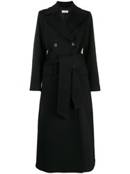 Alberto Biani Belted Double Breasted Coat Black