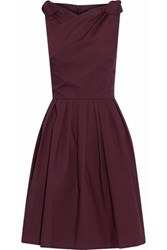Raoul Wrap Effect Bow Detailed Pleated Cotton Poplin Dress Burgundy