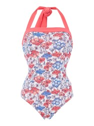 Dickins And Jones Coral Floral Marl Bandeau Swimsuit Coral