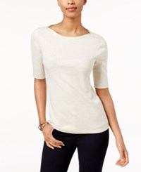 Charter Club Elbow Sleeve Boat Neck Top Only At Macy's Nat Oat Heather