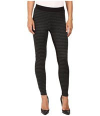 Hue Houndstooth Blocked Illusion Ponte Leggings Black Women's Casual Pants