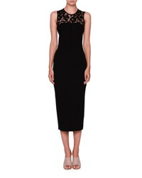 Valentino Sleeveless Lace Yoke Pencil Dress Black