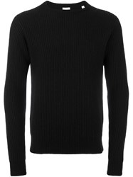 Aspesi Crew Neck Ribbed Pullover Black