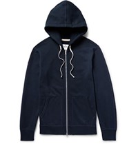 Reigning Champ Loopback Cotton Jersey Zip Up Hoodie Midnight Blue