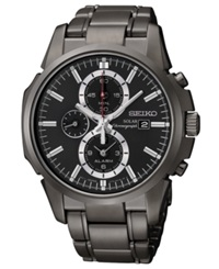 Seiko Watch Men's Solar Chronograph Black Ion Finish Stainless Steel Bracelet 42Mm Ssc095