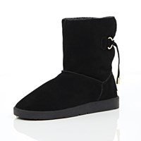 River Island Womens Black Suede Faux Fur Trim Ankle Boots