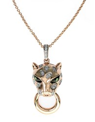 Effy Signature 14K Rose Gold Diamond And Tsavorite Panther Pendant Necklace