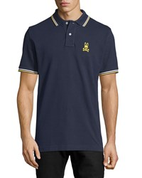 Psycho Bunny Neon Bunny Stripe Trim Polo Shirt Navy