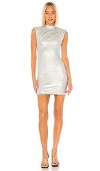 Rta Betty Dress In Metallic Silver. Sound Silver
