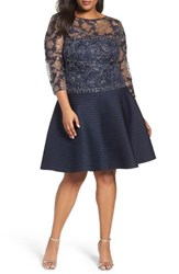 Tadashi Shoji Plus Size Women's Lace And Pintuck Party Dress Navy Silver