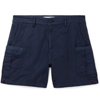 Orlebar Brown Bulldog Stretch Linen And Cotton Blend Twill Cargo Shorts Blue