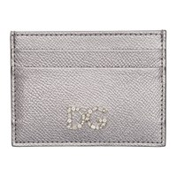 Dolce And Gabbana Silver Crystal Logo Card Holder