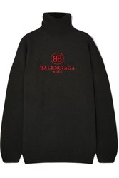 Balenciaga Embroidered Wool And Cashmere Blend Turtleneck Sweater Black