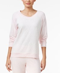 Alfani Lacy Jacquard Front Pajama Top Only At Macy's Pink Heather