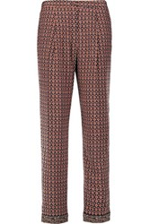 Tory Burch Printed Silk Straight Leg Pants Burgundy