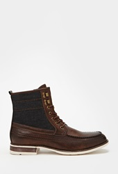 Forever 21 Denim Paneled Boots Brown