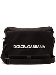 Dolce And Gabbana Logo Embossed Nylon Messenger Bag Black