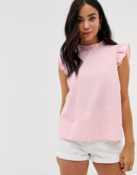 New Look Frill Edge Top In Pink Gingham