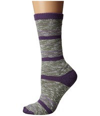 Carhartt Merino Wool Blend Slub Stripe Gray Women's Crew Cut Socks Shoes