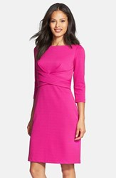 Petite Women's Donna Ricco Textured Wrap Waist Sheath Dress Fuchsia