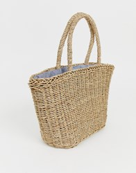 Hat Attack Stripe Lined Basket Bag Tan