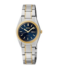 Seiko Functional Solar Two Tone Stainless Steel Blue Dial Watch