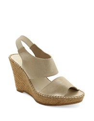 Andre Assous Reese Suede Platform Wedge Sandals Platino